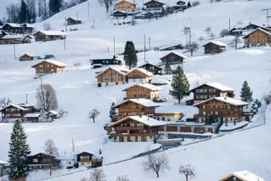 Hillside chalets of the Swiss Alps