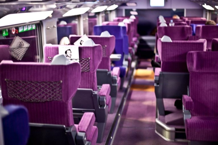 1st class interior TGV high-speed train, France
