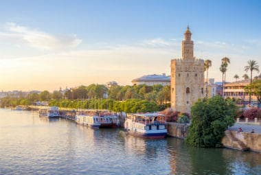 The golden tower and the Guadalquivir river