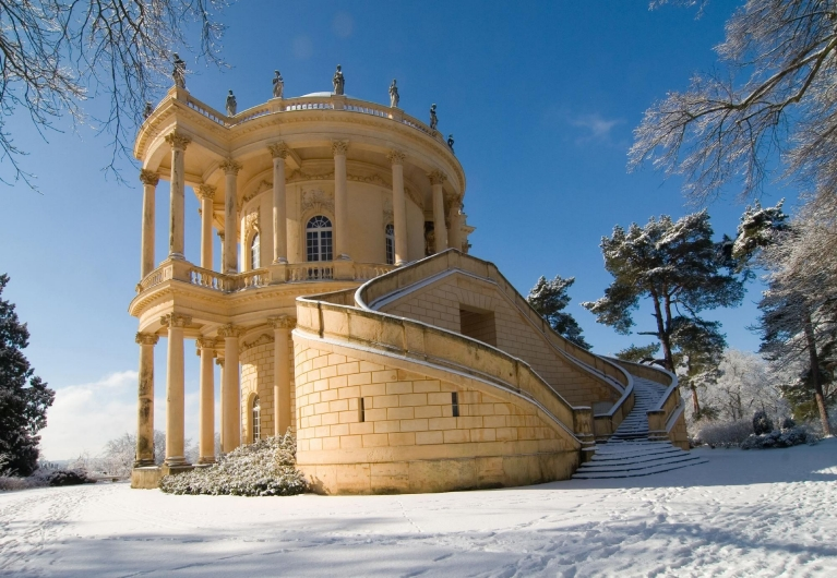 Snowfall at Sanssouci Palace in Potsdam