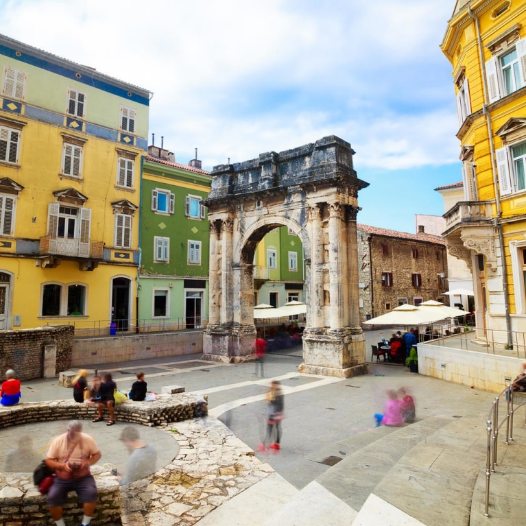 Ancient Roman Triumphal Arch in Pula, Croatia