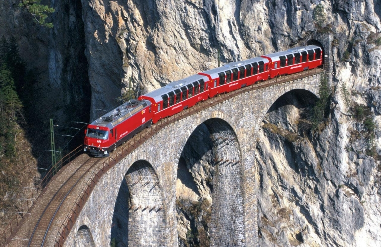 Bernina Express crossing bridge