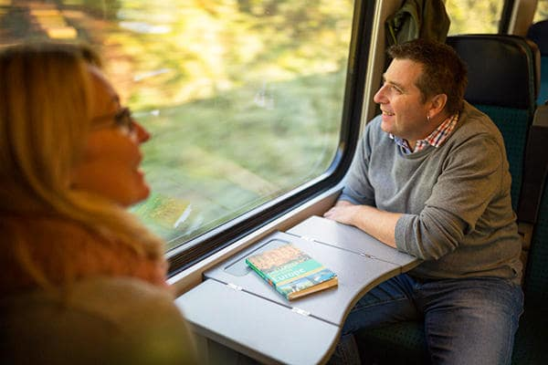 Couple sitting in Swiss highspeed