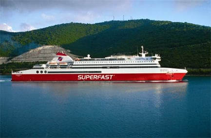 Ferry of Superfast Ferries on sea