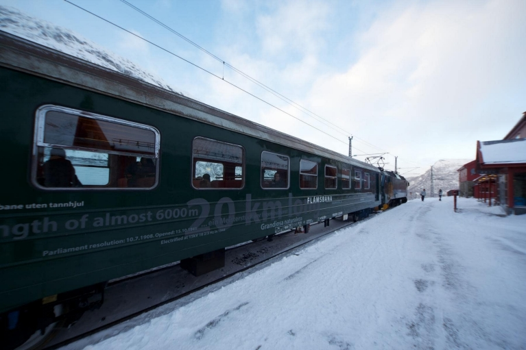 Flam Railway at platform in winter