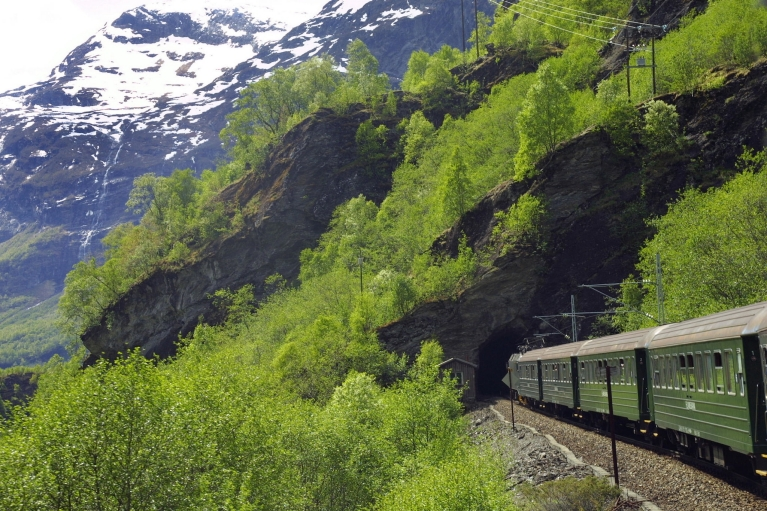 Flam railway train in mountain scenery