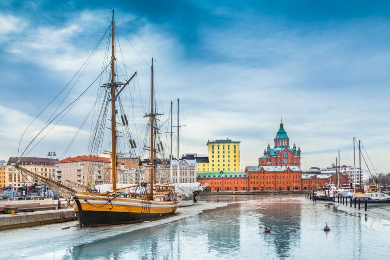 Admire the beauty of Helsinki's port in winter