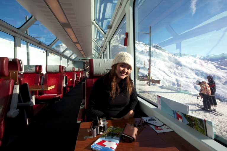 Enjoy the view in the Glacier Express