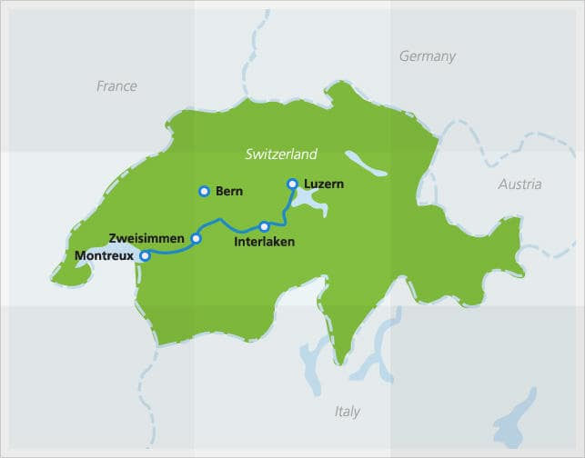 Map with route of Golden Pass