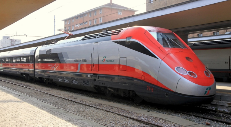 High-speed train at the station, Italy