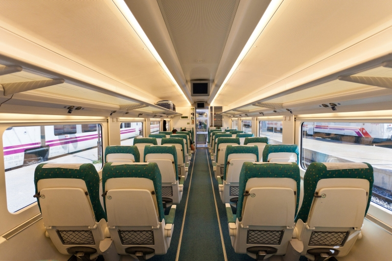 Interior of Alvia high-speed train, tourist class, Spain