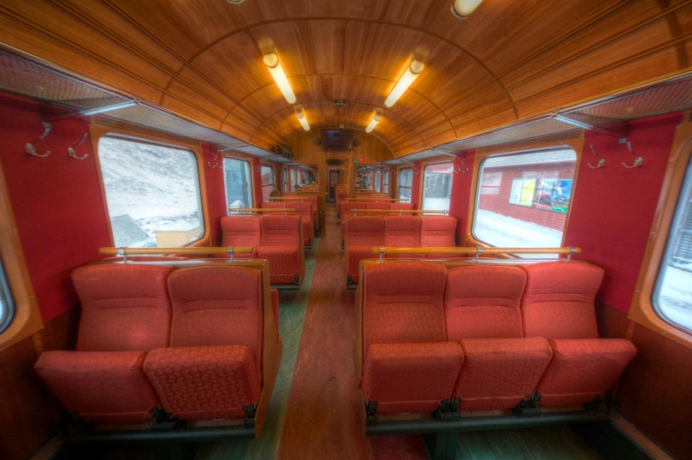 Interior of Flam Railway train