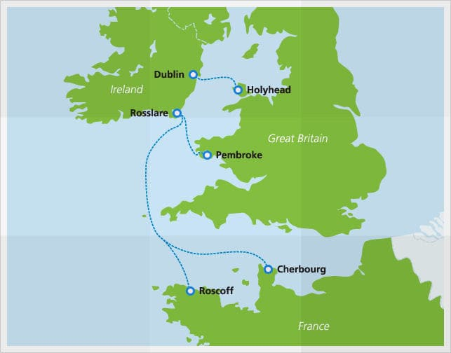 Mapa con las rutas de Irish Ferries