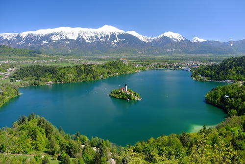 Interrailing in Spring | View of Lake Bled, island and mountains, Slovenia