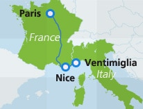 Map Of Trains In France.Trains Between France Italy Spain Interrail