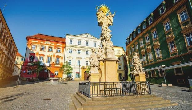 Market square with Holy Trinity column in the old town of Brno city in Czech Republic