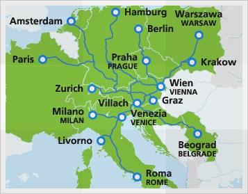 Map with night train routes in Austria