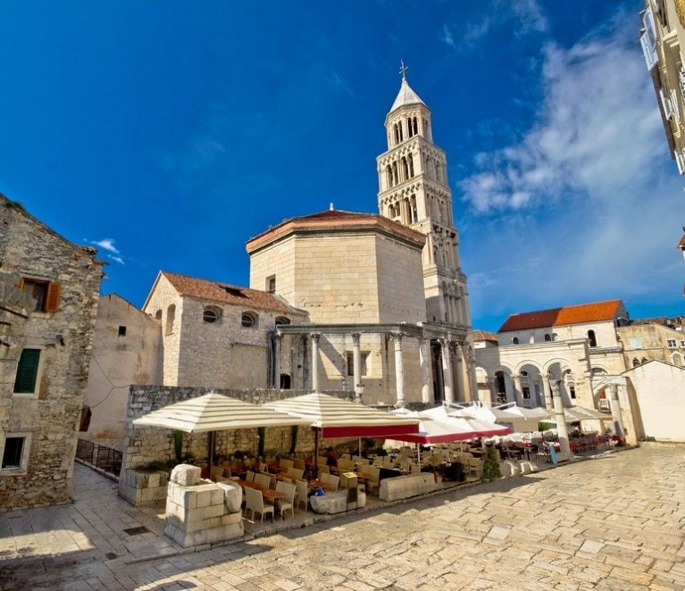 Old split roman ruins and cathedral view salmatia croatia