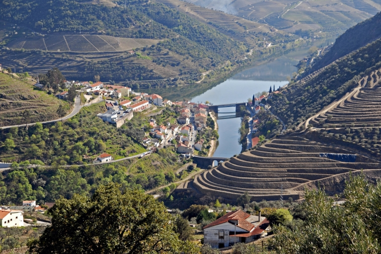Image of villages and bridges across the Douro River. Terraces of vineyards rise either side of the valley.