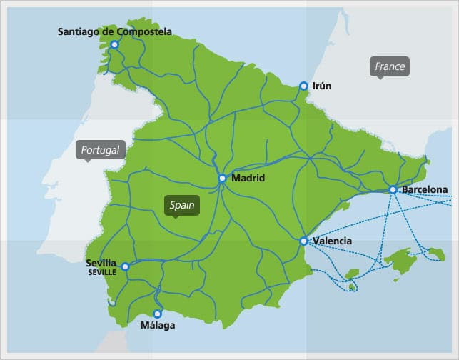 Map Of Spain With Distances.Trains In Spain Interrail Eu