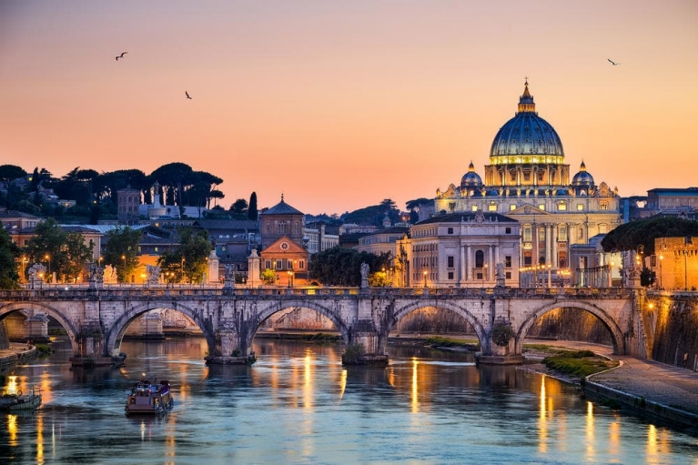 View of Rome and St Peter's Basilica from Tiber river