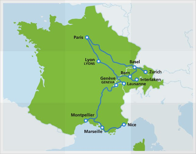 Map with routes of TGV Lyria high-speed train
