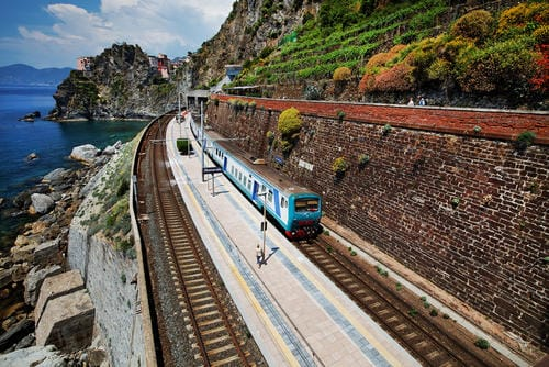 Train in Manarola railway station, Cinque Terre, Italy