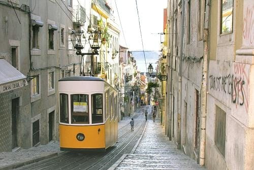 Tram in Old Town of Lisbon