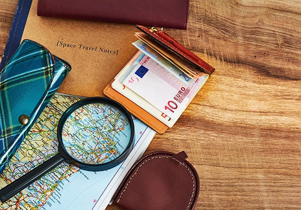 Travel items on a desk
