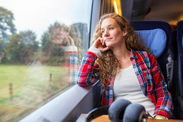 Young woman looking out of a train window