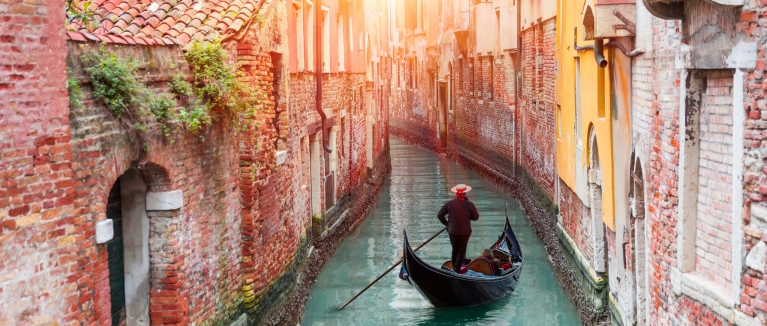 Gondola in canal, Venice