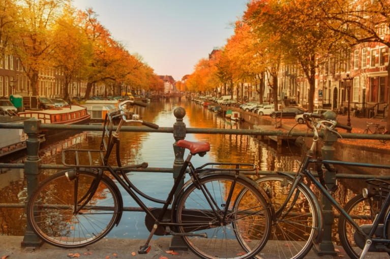 Amsterdam's canals in autumn