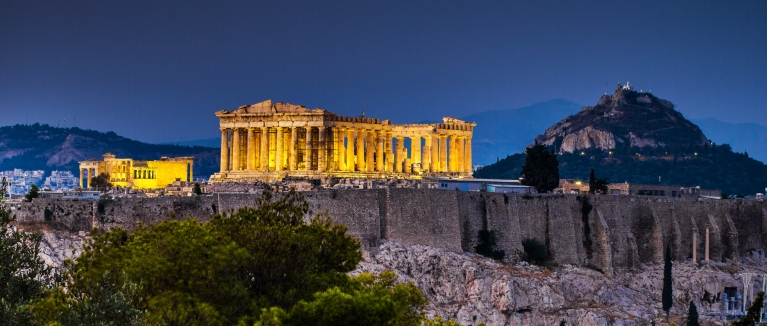 Acropolis in Athens at night