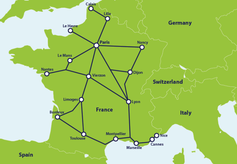 Map with main train connections in France