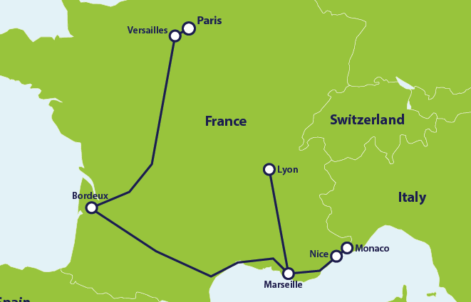 Map with example route in France