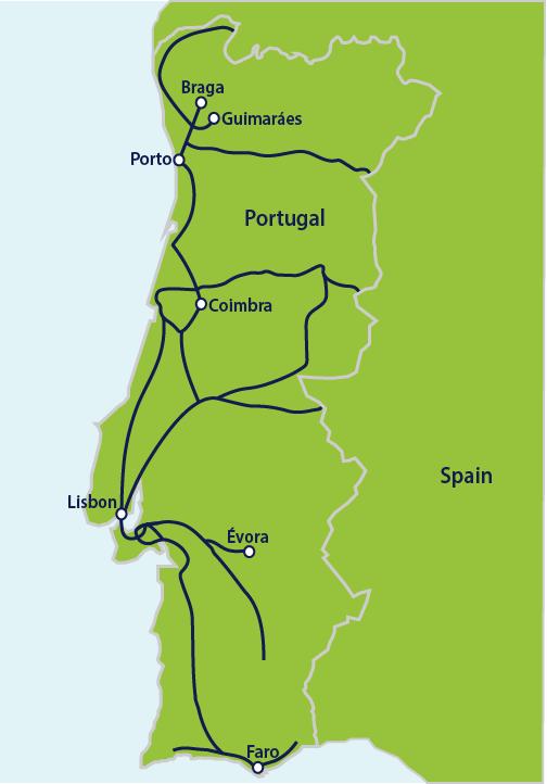 Carte Espagne Faro.Trains In Portugal Portugal By Rail Interrail Eu