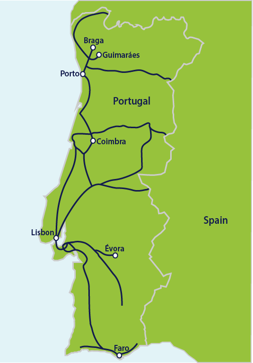 Map Of Italy With Train Routes.Trains In Portugal Portugal By Rail Interrail Eu